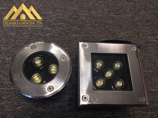 Đèn led âm sàn có 2 kiểu dáng cơ bản gồm tròn và vuông